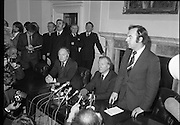 Charles Haughey,New Fianna Fáil Leader  (N5)..1979..07.12.1979..12.07.1979..7th December 1979..Today saw the election of Mr Charles Haughey as leader of Fianna Fáil. Mr Haughey takes over the role after the resignation of Jack Lynch.In a surprise result Mr Haughey beat the party favourite Mr George Colley TD..Image of Dr Michael Woods, Fianna Fáil chief whip as he introduces the new party leader Charles Haughey TD.to the assembled media.