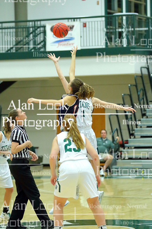 06 December 2017:  Molly McGraw and Sam Munroe tip off during an NCAA women's basketball game between the Wheaton Thunder and the Illinois Wesleyan Titans in Shirk Center, Bloomington IL
