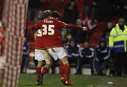 Jamie Ward of Nottingham Forest (L) celebrates after scoring his sides third goal - Mandatory byline: Jack Phillips/JMP - 16/01/2016 - FOOTBALL - The City Ground - Nottingham, England - Nottingham Forest v Bolton Wonderers - {event}