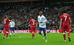 LONDON, ENGLAND - Tuesday, September 6, 2011: England's Ashley Young celebrates after scoring his teams first goal during the UEFA Euro 2012 Qualifying Group G match against Wales at Wembley Stadium. (Pic by Gareth Davies/Propaganda)