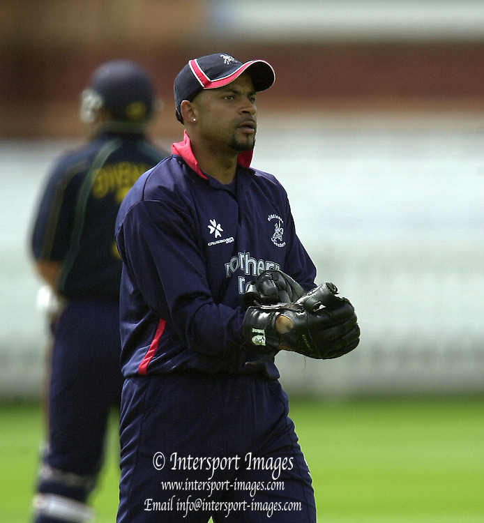 27/04/03  - Photo Peter Spurrier.2003 National Cricket League - Middlesex Crusaders v Derbyshire Scorpions,Chad Keegan. [Mandatory Credit:Peter Spurrier]..