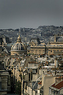 France. Paris. elevated view. The french academy (institute) . Paris view from senat roof top