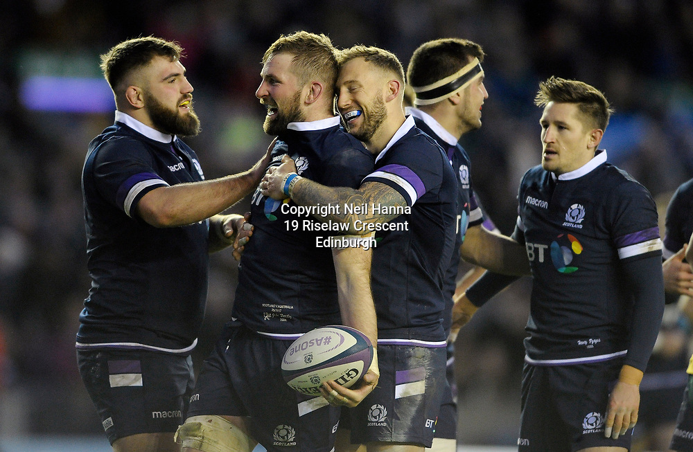 No Sales, Syndication or Archive <br /> <br /> Autumn Tests<br /> Scotland v Australia Saturday 25th November 2017, BT Murrayfield, Edinburgh.<br /> <br /> Jamie Bhatti , John Barclay and Byron McGuigan of Scotland<br /> <br /> <br /> <br />  Neil Hanna Photography<br /> www.neilhannaphotography.co.uk<br /> 07702 246823