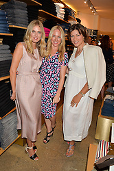 Left to right, DONNA AIR, ROSIE NIXON and KATE SILVERTON at a party to celebrate the paperback lauch of The Stylist by Rosie Nixon hosted by Donna Ida at her store at 106 Draycott Avenue, London on 17th August 2016.