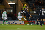 31st October 2018, Kilmac Stadium, Dundee, Scotland; Ladbrokes Premiership football, Dundee v Celtic; Ryan Inniss of Dundee brings down Tomas Rogic of Celtic to concede a penalty
