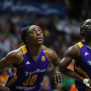 UNCASVILLE, CONNECTICUT- MAY 26: Nneka Ogwumike #30, (left) and Essence Carson #17 of the Los Angeles Sparks in action during the Los Angeles Sparks Vs Connecticut Sun, WNBA regular season game at Mohegan Sun Arena on May 26, 2016 in Uncasville, Connecticut. (Photo by Tim Clayton/Corbis via Getty Images)