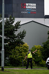 At it's height 40 firefighters and six fire appliances attended at steel fabricators Wyman Gordon in Livingston after a serious fire broke out. Surrounding premises were evacuated and roads were sealed off by police officers wearing breathing masks.<br /> <br /> &copy; Dave Johnston/ EEm
