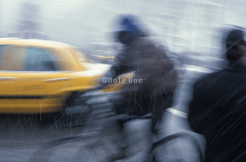 bicycle rider in a snow storm