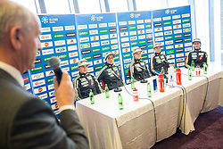 Joze Mermal, Ursa Bogataj, Maja Vtic, Spela Rogelj, Ema Klinec and Katja Pozun during press conference of Slovenian Ski jumping Women team before new season 2015/16, on December 1, 2015 in Cristal palace, BTC, Ljubljana, Slovenia. Photo by Vid Ponikvar / Sportida