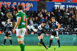 Sam Davies of Ospreys \kicks at goal<br /> <br /> Photographer Craig Thomas/Replay Images<br /> <br /> Guinness PRO14 Round 4 - Ospreys v Benetton Treviso - Saturday 22nd September 2018 - Liberty Stadium - Swansea<br /> <br /> World Copyright © Replay Images . All rights reserved. info@replayimages.co.uk - http://replayimages.co.uk