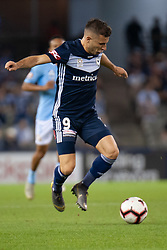 February 23, 2019 - Melbourne, VIC, U.S. - MELBOURNE, VIC - FEBRUARY 23: Melbourne Victory forward Kosta Barbarouses (9) controls the ball at round 20 of the Hyundai A-League Soccer between Melbourne City FC and Melbourne Victory on February 23, 2019 at Marvel Stadium, VIC. (Photo by Speed Media/Icon Sportswire) (Credit Image: © Speed Media/Icon SMI via ZUMA Press)