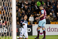 SYDNEY, AUSTRALIA - AUGUST 21: Melbourne Victory forward Kosta Barbarouses (9) and APIA Leichhardt Tigers defender Paul Galimi (3) have a disagreement at the FFA Cup Round 16 soccer match between APIA Leichhardt Tigers FC and Melbourne Victory at Leichhardt Oval in Sydney on August 21, 2018. (Photo by Speed Media/Icon Sportswire)