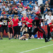 02 September 2017: San Diego State Aztecs running back Rashaad Penny #20 breaks away for a 61 yard touchdown run in the first quarter against the Aggies. The Aztecs lead the Aggies 24-3 at the half at Qualcomm Stadium in San Diego, California. <br /> www.sdsuaztecphotos.com