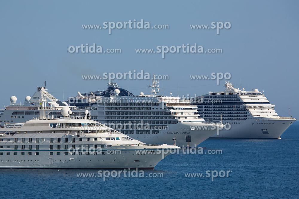 THEMENBILD - Drei Kreuzfahrtschiffe liegen vor dem alten Hafen von Ploce vor Anker, aufgenommen am 6. Juni 2015 in Kroatien // Three cruise ships at anchor in front of the old port Ploce, Croatia on 2015/06/06. EXPA Pictures &copy; 2015, PhotoCredit: EXPA/ Pixsell/ Grgo Jelavic<br /> <br /> *****ATTENTION - for AUT, SLO, SUI, SWE, ITA, FRA only*****