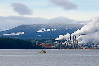 Workboat collecting stray logs near Gabriola Island with Harnac pulp mill Nanaimo in background British Columbia Canada