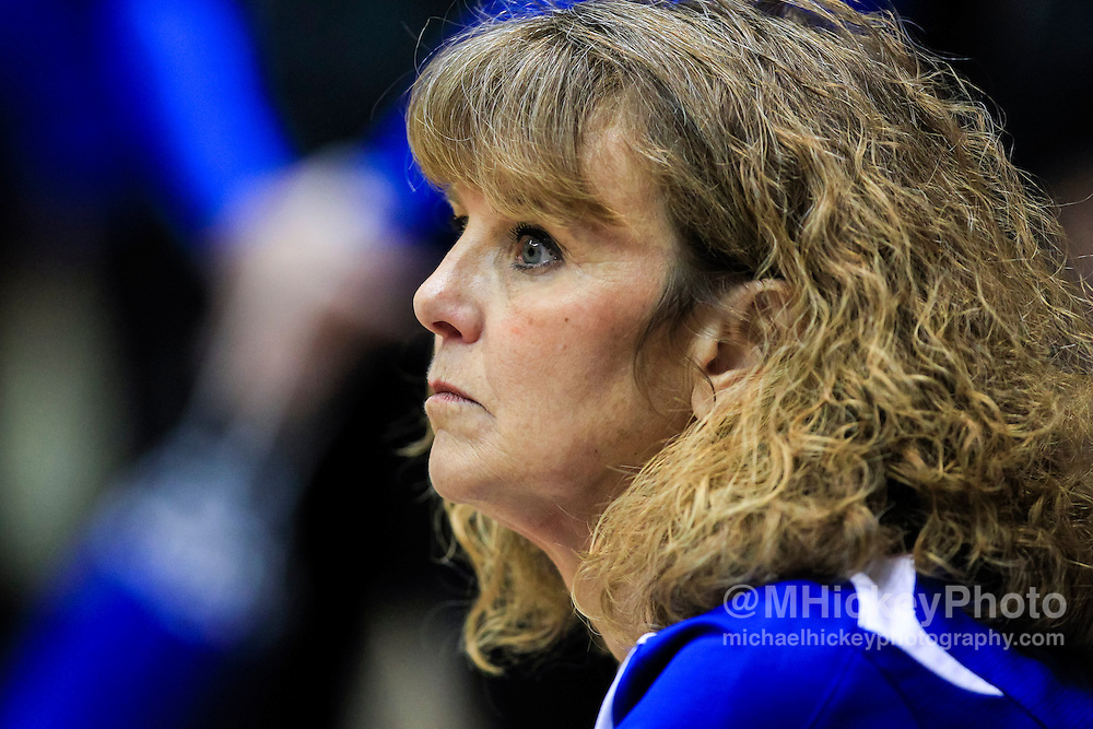 Columbus North head coach Sandy Freshour watches during the IHSAA gymnastics state finals at Worthen Arena in Munice, Indiana. (Michael Hickey | For The Republic)
