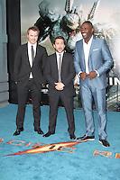 Robert Kazinsky; Charlie Day; Idris Elba, Pacific Rim European Film Premiere, BFI IMAX Waterloo, London UK, 04 July 2013, (Photo by Richard Goldschmidt)