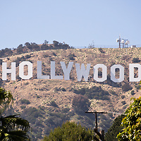 Hollywood sign in Hollywood California. The sign is a landmark located in the Mount Lee section of Hollywood Hills in the Santa Monica Mountains in Southern California. The sign is a very popular icon and is frequently used in television shows and movies. Photo was taken in May of 2012.