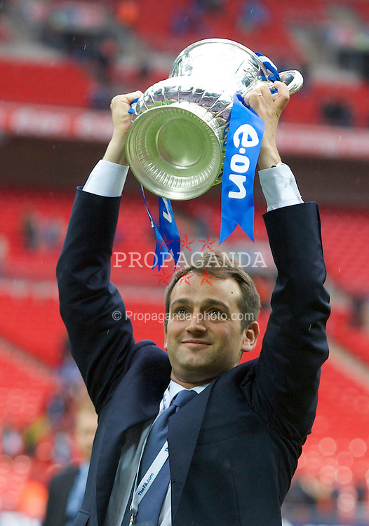 LONDON, ENGLAND - Saturday, May 17, 2008: Portsmouth's owner Alexandre Gaydamak celebrates with the trophy after his side beat Cardiff City 1-0 during the FA Cup Final at Wembley Stadium. (Photo by David Rawcliffe/Propaganda)
