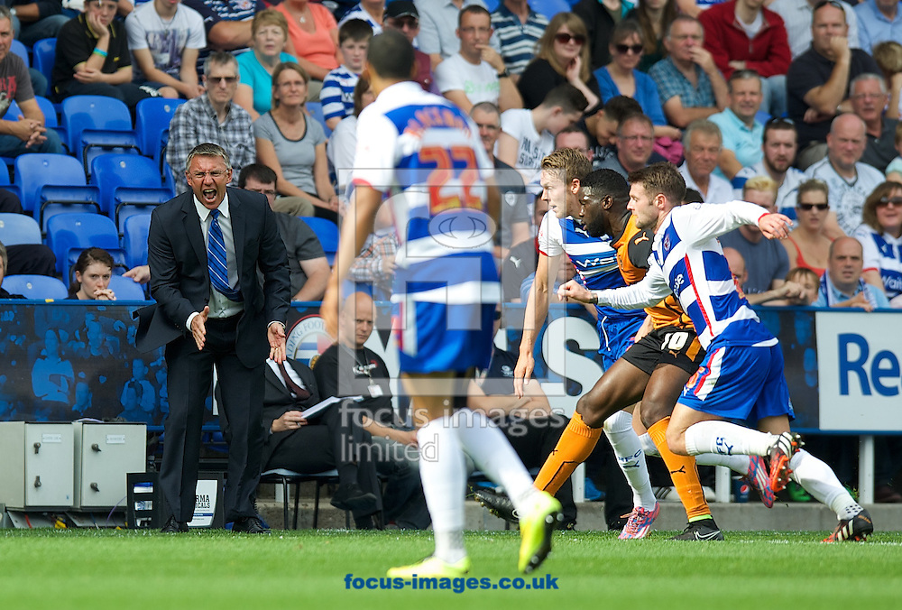Manager Nigel Adkins of Reading screams at his players during the Sky Bet Championship match at the Madejski Stadium, Reading<br /> Picture by Alan Stanford/Focus Images Ltd +44 7915 056117<br /> 28/09/2014