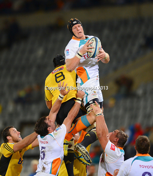 Phillip van der Walt of the Cheetahs during the Super Rugby match between the Cheetahs and the Hurricanes at the Free State Stadium in Bloemfontein on May 10, 2013©Barry Aldworth/BackpagePix