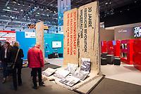 DEU, Deutschland, Germany, Berlin, 07.03.2019: Internationale Tourismus-Börse (ITB) auf dem Berliner Messegelände. Originalteile der Berliner Mauer stehen am Stand von Berlin.