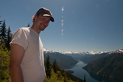 Joe on Desolation Peak Trail Above Ross Lake, North Cascades National Park, Washington, US