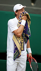 LONDON, ENGLAND - Wednesday, June 30, 2010: Tomas Berdych (CZE) during the Gentlemen's Singles Quarter-Final on day nine of the Wimbledon Lawn Tennis Championships at the All England Lawn Tennis and Croquet Club. (Pic by David Rawcliffe/Propaganda)