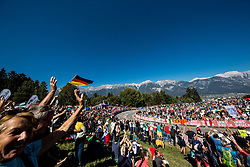 Supporters at Olympic circuit's climb during the Men's Elite Road Race a 258.5km race from Kufstein to Innsbruck 582m at the 91st UCI Road World Championships 2018 / RR / RWC / on September 30, 2018 in Innsbruck, Austria. Photo by Vid Ponikvar / Sportida
