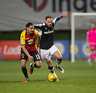 Dundee&rsquo;s Tom Hateley and Partick Thistle's Ryan Edwards battle for the ball - Partick Thistle v Dundee in the Ladbrokes Scottish Premiership at Firhill, Glasgow - Photo: David Young, <br /> <br />  - &copy; David Young - www.davidyoungphoto.co.uk - email: davidyoungphoto@gmail.com