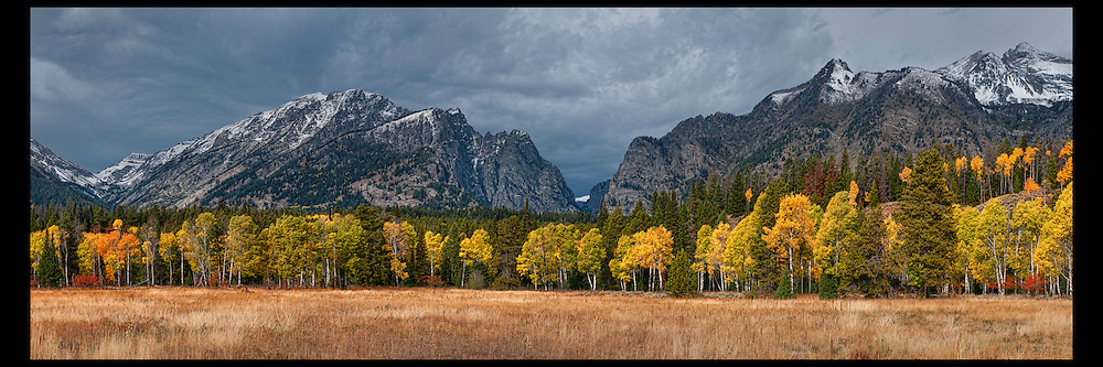 Fall storm clouds over Death Canyon in Grand Teton National Park.