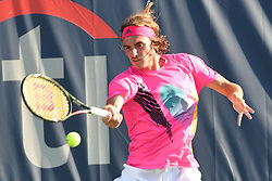 August 1, 2018 - Washington, D.C, U.S - STEFANOS TSITSIPAS hits a forehand during his 2nd round match at the Citi Open at the Rock Creek Park Tennis Center in Washington, D.C. (Credit Image: © Kyle Gustafson via ZUMA Wire)