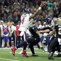 Sep 9, 2019; New Orleans, LA, USA; Houston Texans quarterback Deshaun Watson (4) throws as New Orleans Saints defensive end Cameron Jordan (94) pressures during the first quarter at the Mercedes-Benz Superdome. Mandatory Credit: Derick E. Hingle-USA TODAY Sports