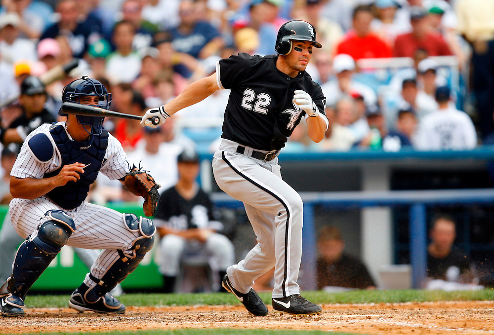 BRONX, NY - JULY 15: Outfielder Scott Podsednik #22 of the Chicago White Sox bats against the New York Yankees on July 15, 2006 at Yankee Stadium in the Bronx Borough of New York City. The Yankees defeated the White Sox  14 to 3.  *** Local Caption *** Scott Podsednik