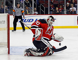February 1, 2008; Newark, NJ, USA; New Jersey Devils goalie Martin Brodeur (30) makes a save during the first period of the Devils game against the New York Rangers at the Prudential Center in Newark, NJ.