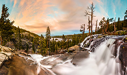"""Eagle Falls At Emerald Bay 7"" - Stitched panoramic photograph of Eagle Falls above Emerald Bay, Lake Tahoe flowing strong. Shot at sunset."