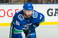 KELOWNA, BC - SEPTEMBER 29:  Sam Gagner #89 of the Vancouver Canucks lines up against the Arizona Coyotes at Prospera Place on September 29, 2018 in Kelowna, Canada. (Photo by Marissa Baecker/NHLI via Getty Images)  *** Local Caption *** Sam Gagner;