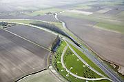 Nederland, Zuid-Holland, Hoeksche Waard, 04-03-2008; parkeerplaats (of rustplaats) aan autosnelweg A 29, op de vierkantjes naast de parkeerstrook staan picknick tafels; rust, veiligheid, automobiliteit, rusttijden, rusten, pauzeren, moe, autorijden, tachograaf, parkeren. .luchtfoto (toeslag); aerial photo (additional fee required); .foto Siebe Swart / photo Siebe Swart.