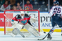 KELOWNA, CANADA - OCTOBER 27: James Porter #1 of the Kelowna Rockets defends the net during first period against the Tri-City Americans on October 27, 2017 at Prospera Place in Kelowna, British Columbia, Canada.  (Photo by Marissa Baecker/Shoot the Breeze)  *** Local Caption ***