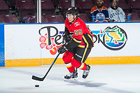 PENTICTON, CANADA - SEPTEMBER 11: Dillon Dube #59 of Calgary Flames against the Winnipeg Jets on September 11, 2017 at the South Okanagan Event Centre in Penticton, British Columbia, Canada.  (Photo by Marissa Baecker/Shoot the Breeze)  *** Local Caption ***