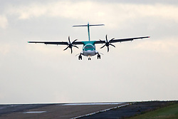 © Licensed to London News Pictures. 13/09/2017. Leeds UK. A Air Lingus aircraft comes in to land sideways this morning due to strong winds from Storm Aileen at Englands highest airport, Leeds Bradford Airport. Photo credit: Andrew McCaren/LNP
