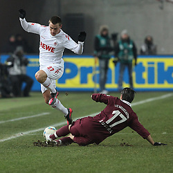 05.02.2012, Fritz Walter Stadium, Kaiserslautern, GER, 1. FBL, 1.FC Kaiserslautern vs 1.FC Koeln, 20. Spieltag, im Bild Christian CLEMENS (1.FC Koeln) im Zweikampf mit Alexander BUGERA (1.FC Kaiserslautern), Aktion/ Action // during the German Bundesliga Match between 1.FC Kaiserslautern vs 1.FC Koeln at the Fritz Walter Stadium in Kaiserslautern, Germany, 2012/02/05. EXPA Pictures © 2012, PhotoCredit: EXPA/ Eibner/ Alexander Neis..***** ATTENTION - OUT OF GER *****