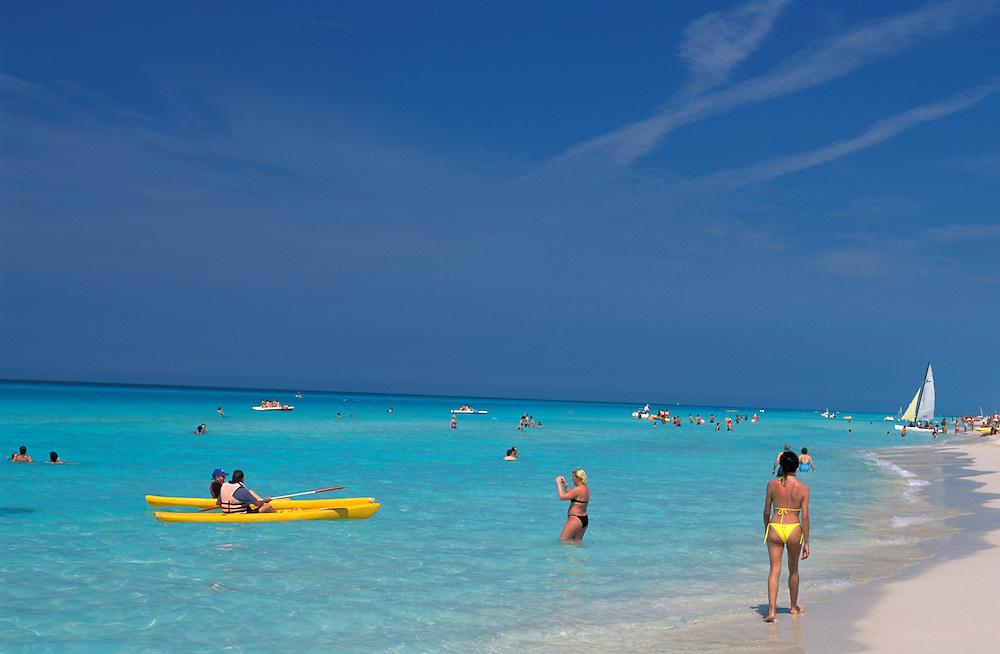 People playing at Playa Santa Maria del Mar, La Habana, Havana, Cuba, Caribbean