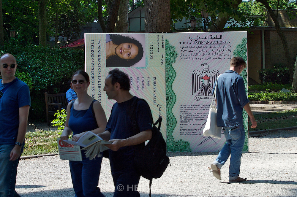 """VENICE, ITALY..50th Biennale of Venice.""""Stateless Nation"""" by Sandi Hilal and Alessandro Petti (Italy). Oversized copies of real Palestinians' passports, issued in their respective countries of exile or asylum..(Photo by Heimo Aga)"""