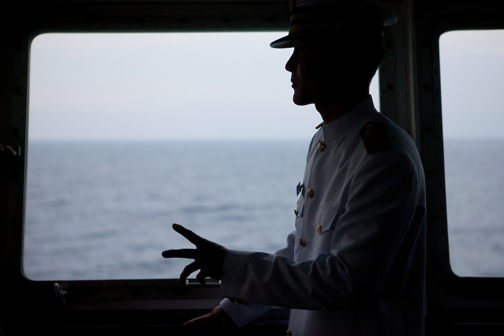 "Captain Jin-Won Kim on the captains bridge of the ""Eastern Dream"" ferry connecting Donghae in South Korea with Vladivostok in Russia. Donghae, South Korea, Republic of Korea, KOR, 11.01.2010."