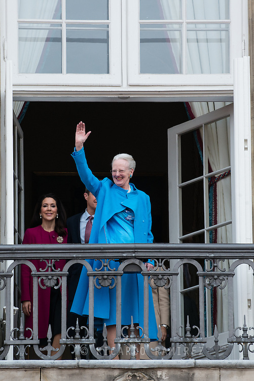16.04.2016. Copenhagen, Denmark.<br /> Queen Margrethe II celebrates her 76th birthday with her whole family. Queen Margrethe II appears on the balcony of Christian IX's Palace at Amalienborg Palace.<br /> Photo: © Ricardo Ramirez