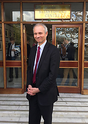 Cabinet Office Minister David Lidington outside the Ballyedmond Centre in Newry, Northern Ireland where he met local businesspeople on a two-day trip to border areas ahead of Brexit.