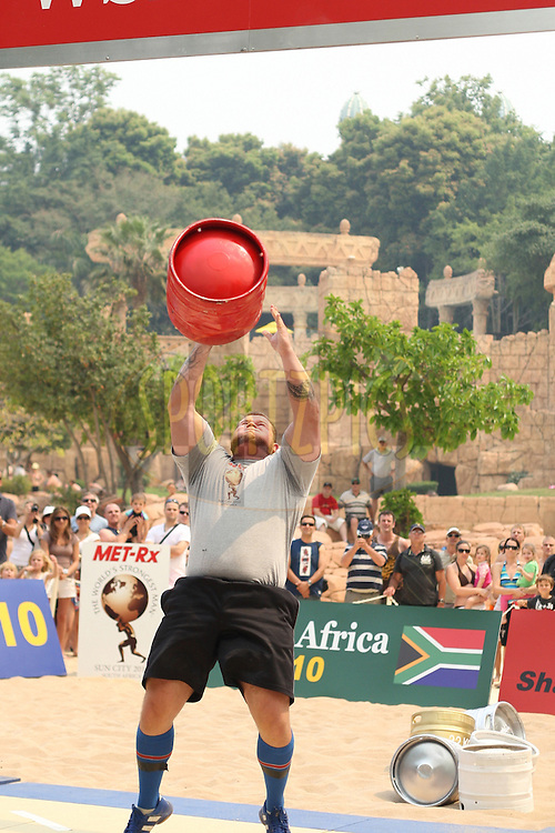 Stefan Solvi Peturssen (Iceland) in the overhead keg-toss during the final rounds of the World's Strongest Man competition held in Sun City, South Africa.