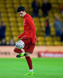 WOLVERHAMPTON, ENGLAND - Monday, January 7, 2019: Liverpool's Curtis Jones during the pre-match warm-up before the FA Cup 3rd Round match between Wolverhampton Wanderers FC and Liverpool FC at Molineux Stadium. (Pic by David Rawcliffe/Propaganda)