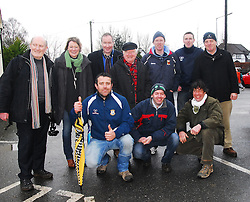 Supporting the Westport Bulls at the All Ireland Junior cup semi-final in Tullamore were Ollie Whyte, Sheila O'Donnell, Hugh O'Donnell, John Staunton, Eugene and Aidan O'Toole and Declan Dever. In Front Fintan Gibbons, Des Reidy and Redmond Cabot...Pic Conor McKeown